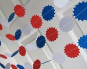 Red White Blue Paper Garland, July 4th, President's Day Decoration, BBQ decorations, Party decoration, baseball decoration