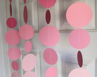 Pink Paper Garland Decorations, Pink Baby Girl Shower, Princess Party, Pink Bridal Shower Decorations, 1st Birthday Backdrop