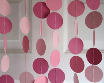 Paper Garland,  Pink Garland, Fairytale Party Decorations, Princess Birthday Decorations, Pink Banner, Shades of Pink