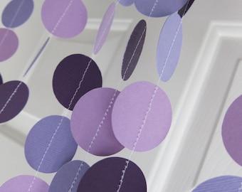 Paper Garland, Shades of Purple Garland, Girl Birthday, Purple Dot, Purple Banner, Mother's Day Garland, Spring Garland