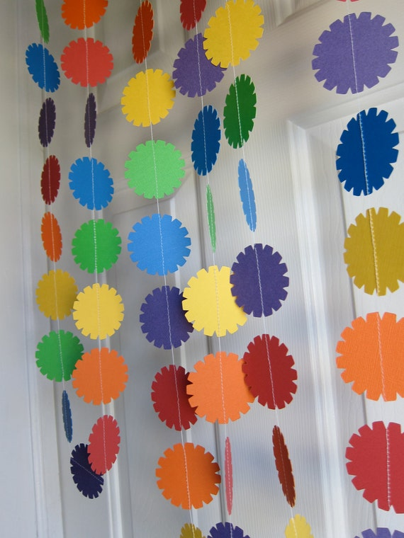 Paper Garland, Birthday Decoration, Rainbow Colors