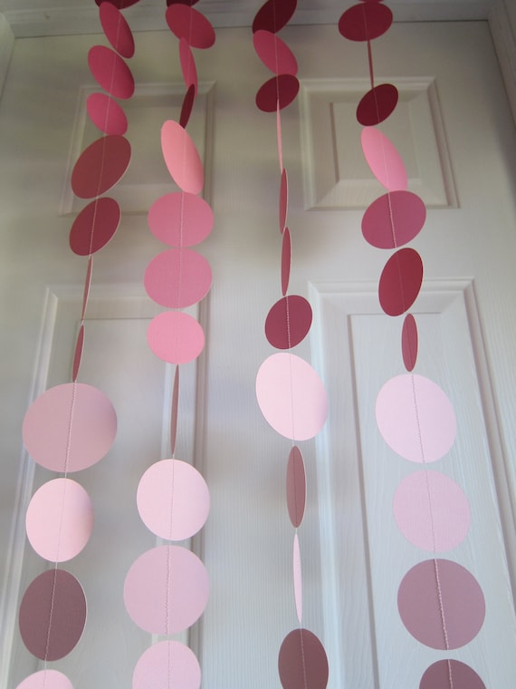 Items similar to paper garland pink decorations weddings - Paper decorations for room ...