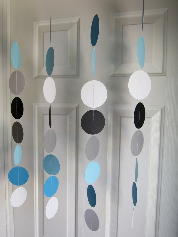 Paper Garland, Blue, Black, Grey, and White Circles, Baby Boy Shower Decorations, Cookie Birthday, Blue Bridal Shower