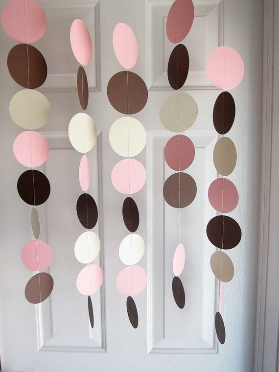 Paper Garland, Circles Dangling Decorations, Pink and Brown Baby Shower Decorations, Pink and Brown Bridal Shower