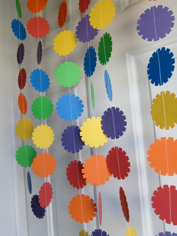 Paper garland birthday decoration rainbow colors - Paper decoration for birthday ...