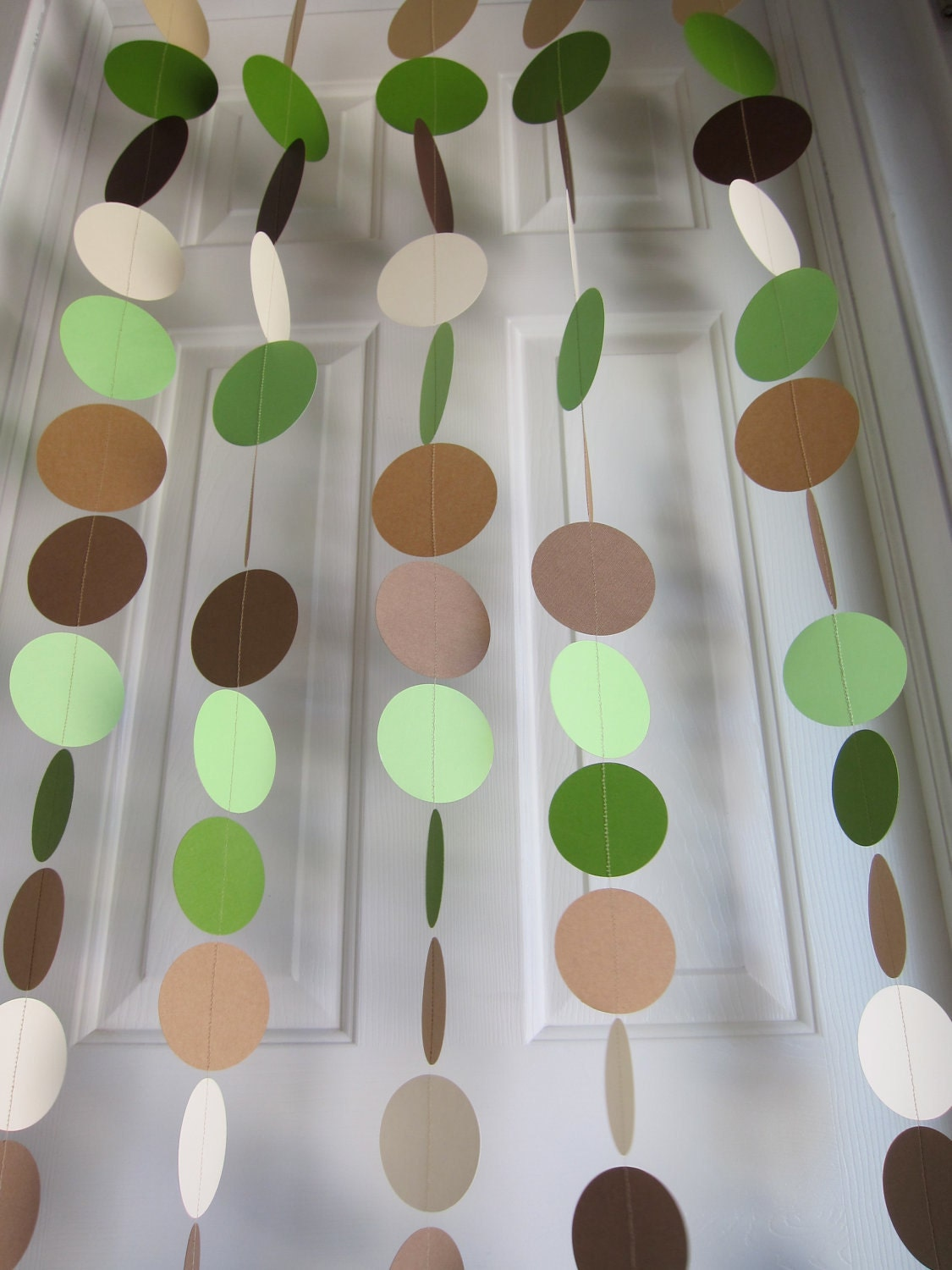 Shades of green and brown garland baby shower backdrop for Bathroom decor green and brown