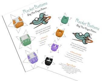 PDF Cloth Diaper Sewing Pattern - Rocket Bottoms Complete 2 Step Diaper System