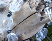 Ice Cubes Super Chunky Crystal Clear Quartz With Hematite Rounds Necklace