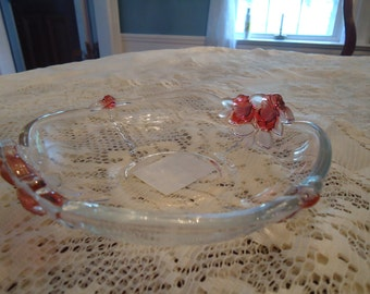 Vintage 1980's Rose Adorned Glass Candy Dish Great Condition