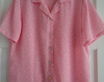 Vintage 1980's Pink and White Polka Dot Blouse Size M Great Condition