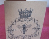 Queen Bee Set of ANY 3 Greeting Note Cards Invitations printed on Recycled Kraft Cardstock with matching envelopes 5 x 7""