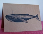 Humpback Whale Set of ANY 3 Greeting Note Cards Invitation Brown Recycled Kraft Cardstock with matching envelope 5 x 7""