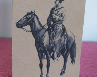 """Vintage Cowboy Vaquero on Horse Set of ANY 3 Greeting Note Cards Invitations Recycled Kraft Cardstock with 3 matching envelopes 5 x 7"""""""