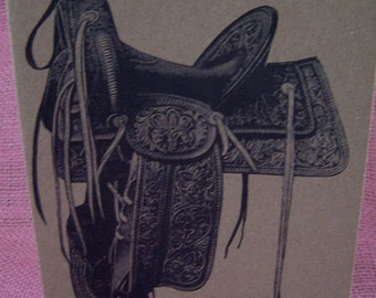 """Western Horse Tooled Leather Saddle SET OF ANY 3 Greeting Note Cards Invitations Recycled Kraft Cardstock with matching envelopes 5 x 7"""""""