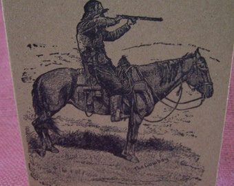 """Cowboy Aiming Rifle on Horse SET OF ANY 3 Greeting Note Cards Invitations Recycled Kraft Cardstock with matching envelope 5 x 7"""""""