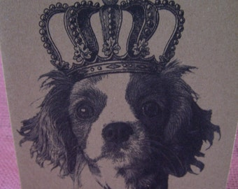 Crowned Cavalier King Charles Spaniel Set of ANY 3 Greeting Note Cards Invitations Kraft Cardstock with matching envelopes 5 x 7""