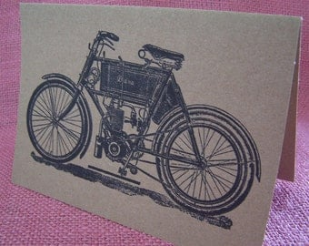 Vintage Motorbike Motorcycle SET OF ANY 3 Greeting Note Cards Kraft  Cardstock with matching envelopes 5 x 7""