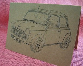 "Original BMC Mini Cooper ""Italian Job"" Set of ANY 3 Greeting Note Cards Invitation Recycled Kraft Cardstock with matching envelope 5 x 7"""