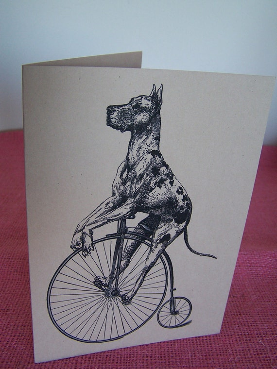 Great Dane Dog on Bicycle Note Card printed on Kraft Heavy Cardstock with matching envelope 5 x 7""