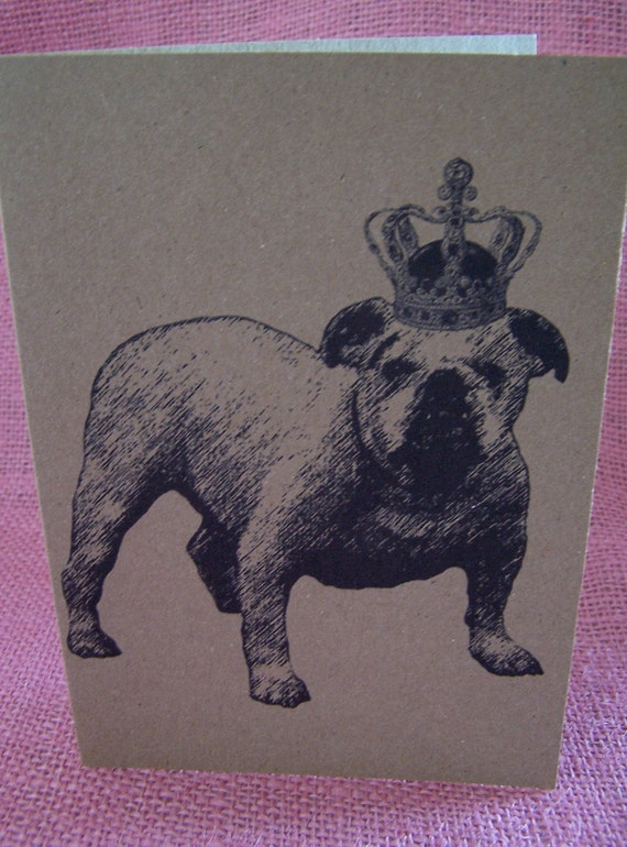 """Crowned Bulldog Set of ANY Three Greeting Note Cards Invitations printed on Kraft Heavy Cardstock with matching envelope 5 x 7"""""""