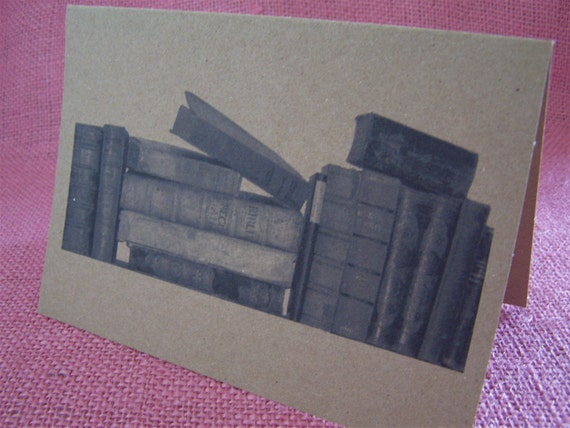 """Library Books Set of ANY 3 Greeting Note Cards Invitation Recycled Kraft Cardstock with matching envelope 5 x 7"""""""