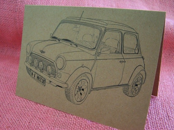 """Original BMC Mini Cooper """"Italian Job"""" Set of ANY 3 Greeting Note Cards Invitation Recycled Kraft Cardstock with matching envelope 5 x 7"""""""