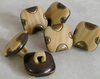 Yellow Stripe Square Buttons Brass 12.5mm (6)