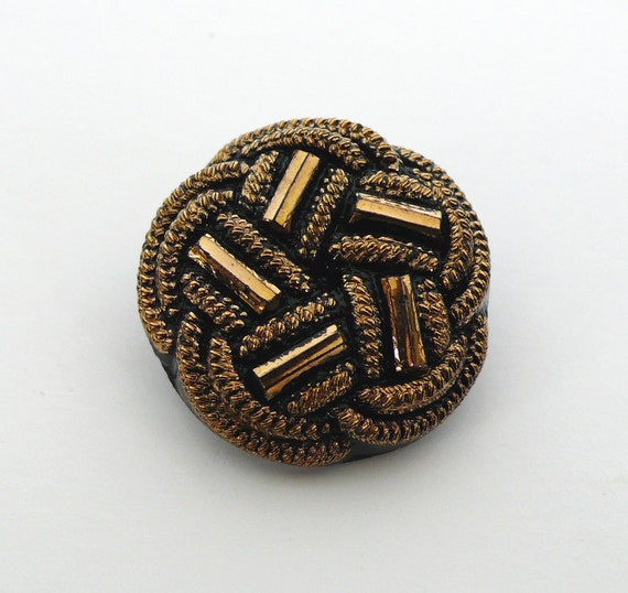 Black Golden Glass Button 22mm