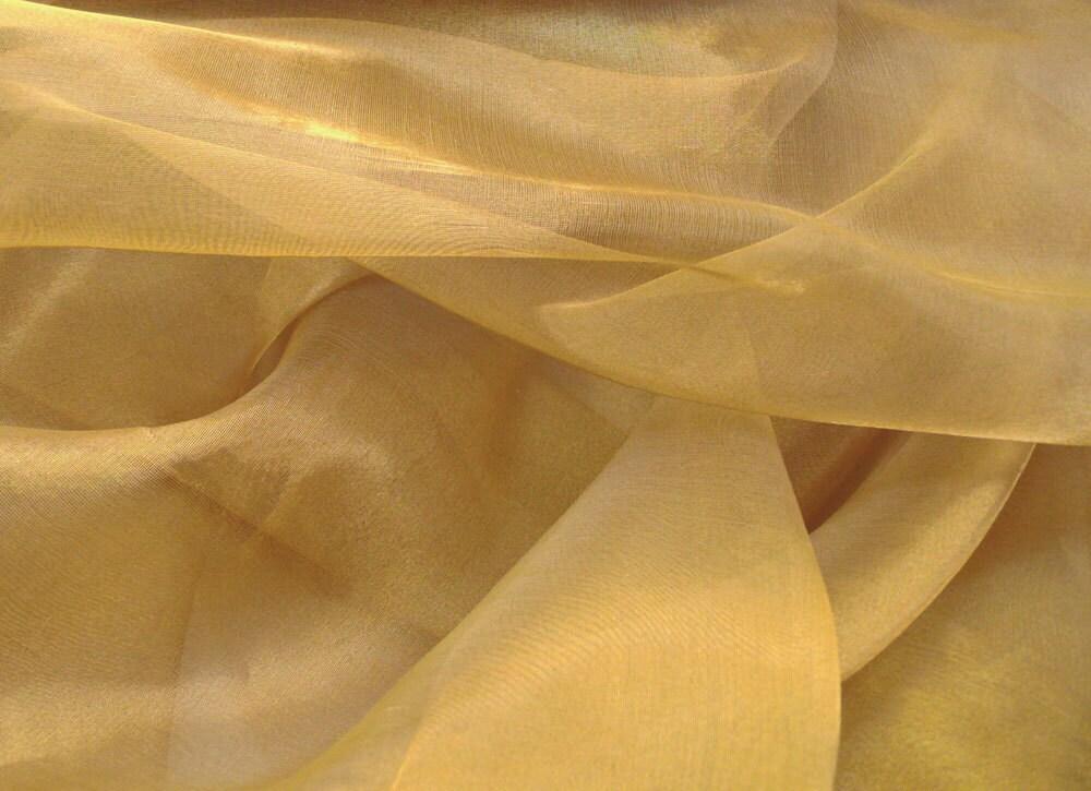 Silk gold metal organza fabric half yard for Sheer fabric