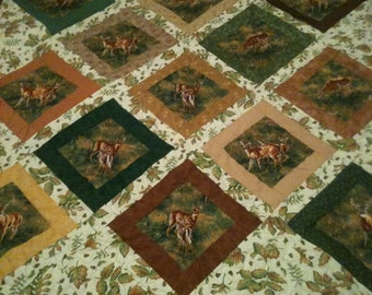 Fussy Cut Deer Quilt or Wallhanging