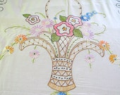 Reduced Price - Antique Embroidered VOGART MAY BASKET Bed Cover - Art Deco Era