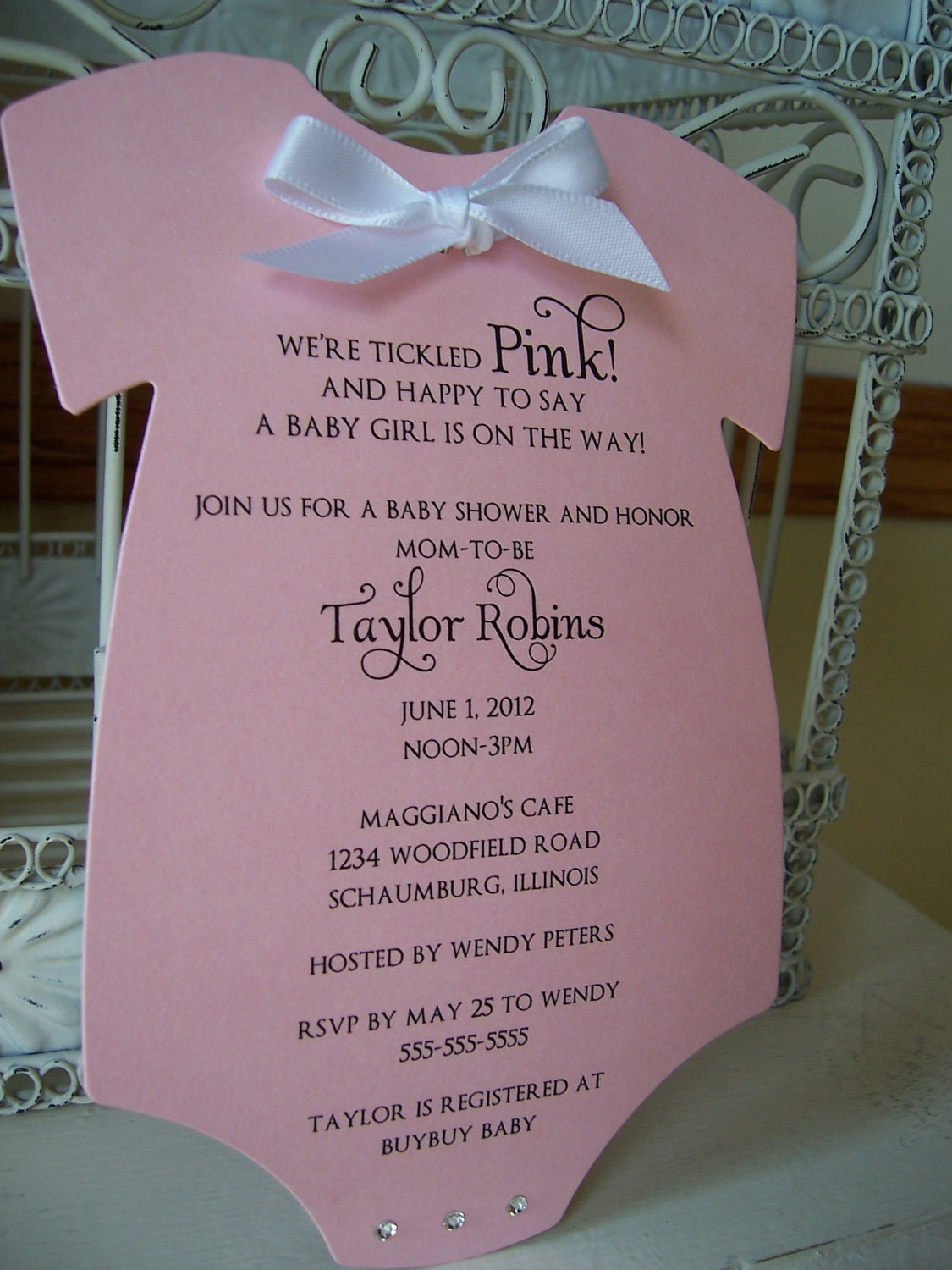 Think Pink Baby Shower Invitation Custom Order For Shiloh