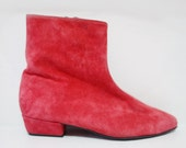 Vintage Red Suede Ankle Boots