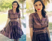 Vintage 1950s Plum Brown Striped Collar Circle Skirt Dress  //// RESERVED FOR erinmray1 /////