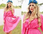 Vintage 1960s Fuschia Fuchsia Pink Flowy Shirt Dress