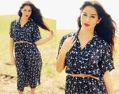Vintage 1980s Dark Blue Floral Summer Dress