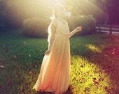 Vintage 1960s Peach Off The Shoulders Flowy Romantic Maxi Dress