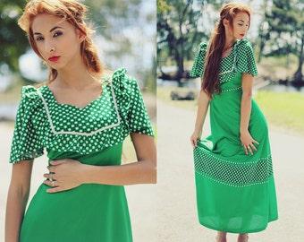 Vintage 1960s Forest Green Polka Dot Maxi Dress