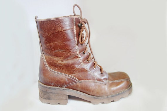 Vintage Brown Lace up Leather Boots