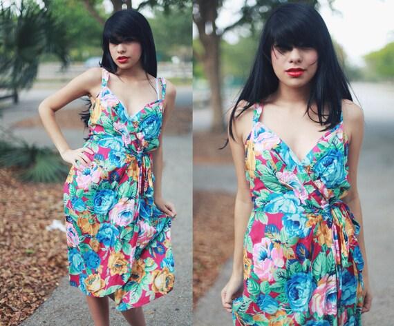 Vintage 1980s Colorful Floral Print Summer Wrap Dress