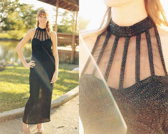 Vintage 1980s Black Beaded Gown Dress
