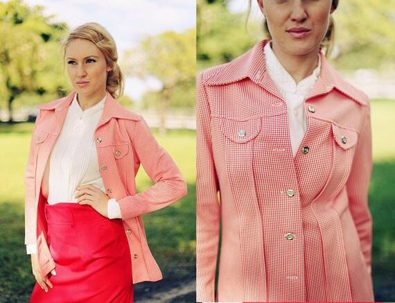 5-15 DOLLAR SALE  //// Vintage 1960's Patterned Red Jacket