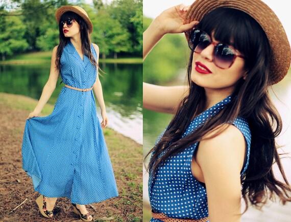 Vintage 1970s Blue White Polka Dot Summer Spring Maxi Dress