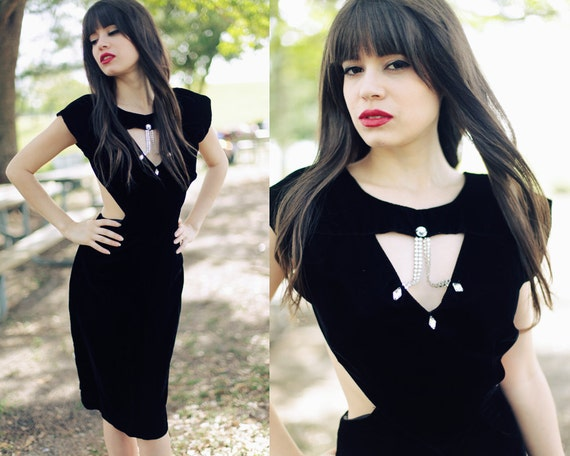 Vintage 1980s Black Velvet Cut out Cocktail Dress