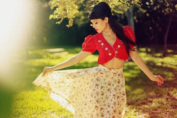 Vintage 1970s Beige Cream Floral Print Long Circle Skirt