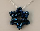 Swarovski Crystal Pendant/Necklace: Metallic Blue Aurora Borealis (AB) Crystal Star of David/Snowflake