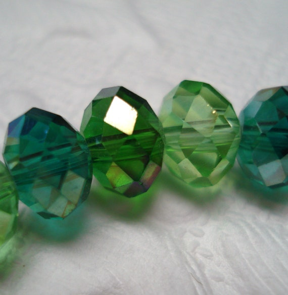 Beads Glass Green Teal Faceted Rondelle AB 5mm x 8mm (20)