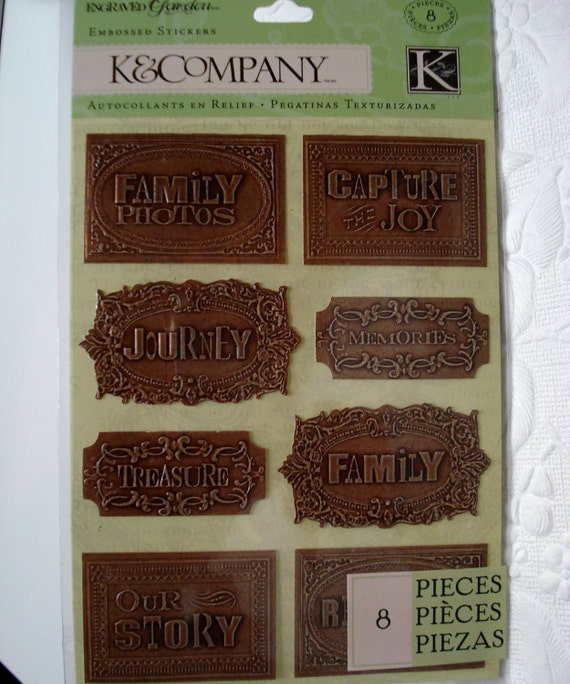 Stickers Embossed Engraved Garden Copper Word K&Company Acid Lignin Free