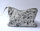 Splatter Dyed Black and White Zippered Pouch