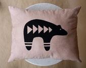 Hand Printed Bear Pillow Black and Tan